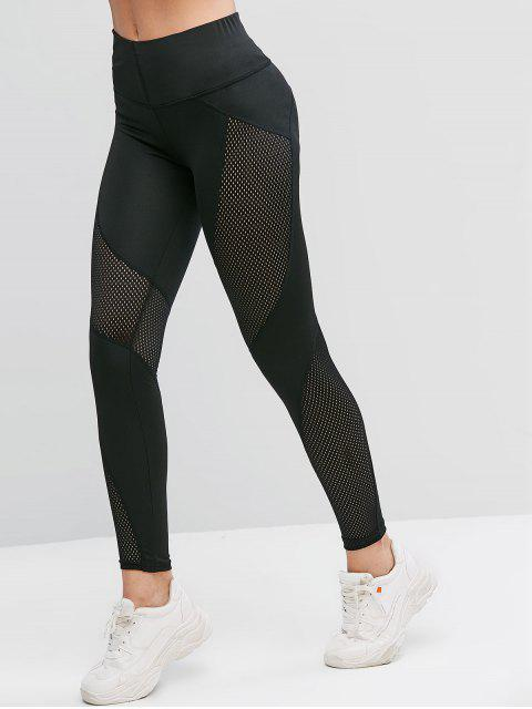 new Openwork High Waisted Solid Leggings - BLACK S Mobile