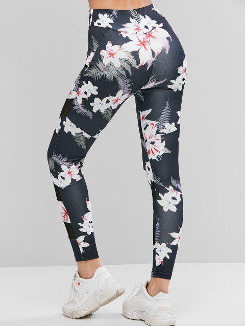 sale Mesh Panel Floral Print High Waist Leggings - MULTI XL Mobile