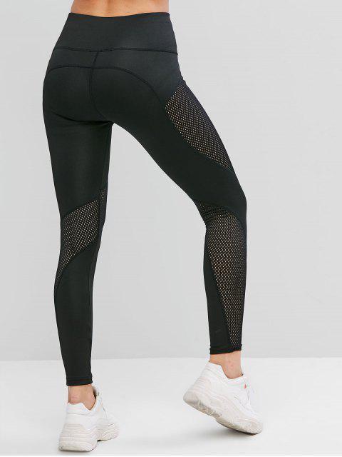 透雕高腰固體打底褲 - 黑色 XL Mobile