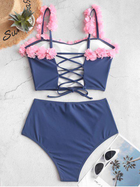 Bañador Tankini fruncido con cordones y pétalos ZAFUL - Azul Pizarra XL Mobile