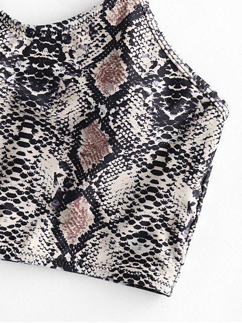 ZAFUL蛇紋印花露背短款比基尼上衣 - 輕卡其色 S Mobile