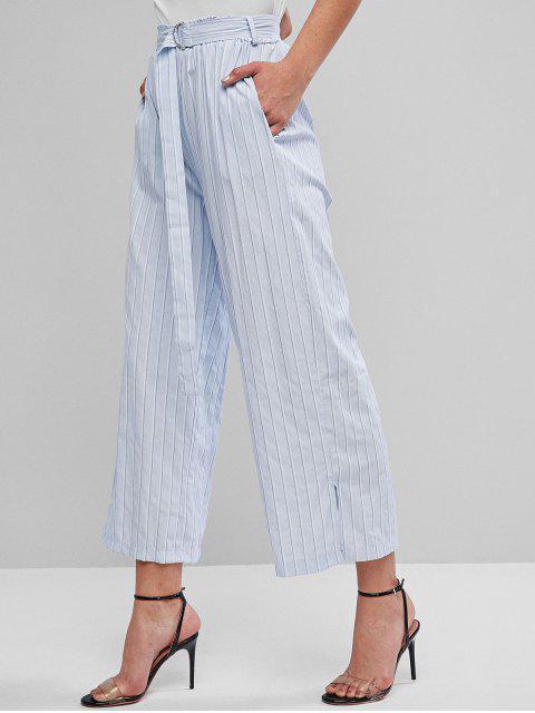 Pantalones anchos de bolsillo con raya a rayas con cinturón - Azul Suave L Mobile