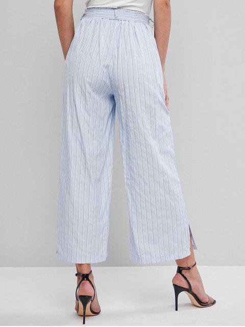 buy Striped Belted Slit Pocket Wide Leg Pants - PASTEL BLUE M Mobile