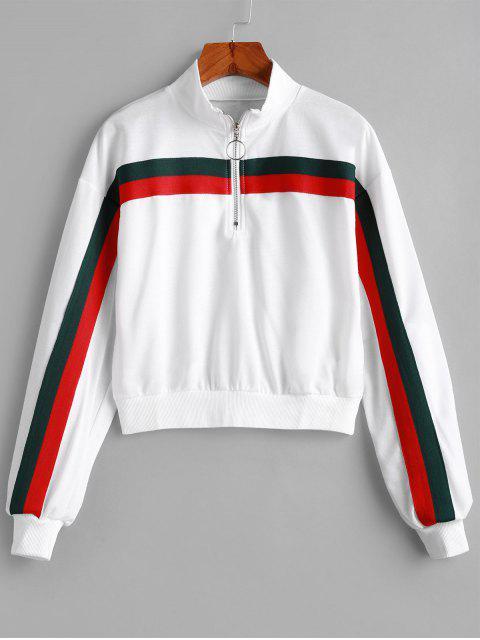 半拉鍊條紋拼接套衫運動衫 - 白色 S Mobile