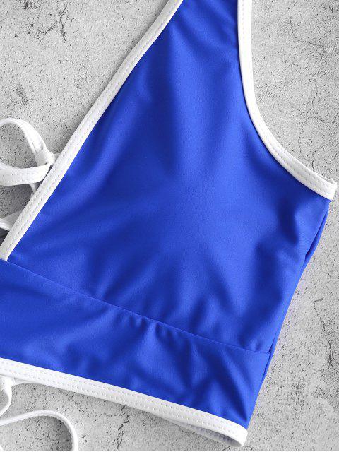 ZAFUL繫帶對比管道肚子控制Tankini泳裝 - 鈷藍色 S Mobile