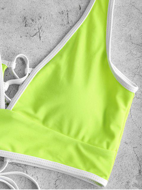 ZAFUL traje de baño Tankini con control de barriga y ribete en contraste - Verde Amarillo 2XL Mobile