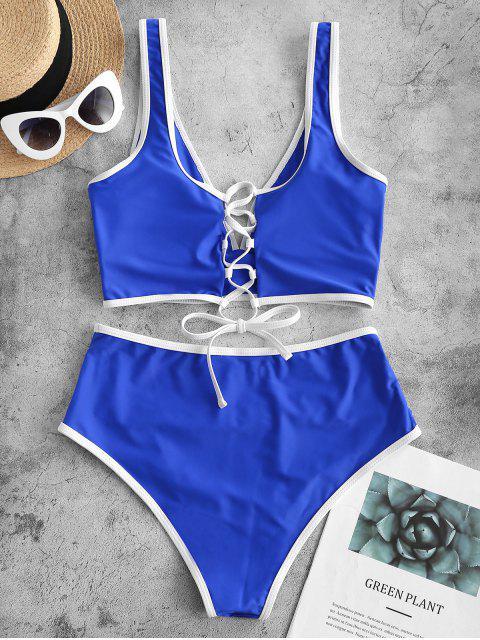 ZAFUL traje de baño Tankini con control de barriga y ribete en contraste - Azul Cobalto 2XL Mobile