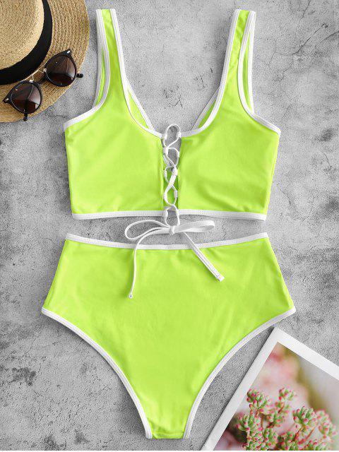 ZAFUL繫帶對比管道肚子控制Tankini泳裝 - 黃綠色 S Mobile