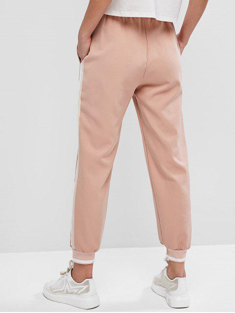 Pantalones jogger de cintura alta a rayas laterales - Rosa Naranja L Mobile