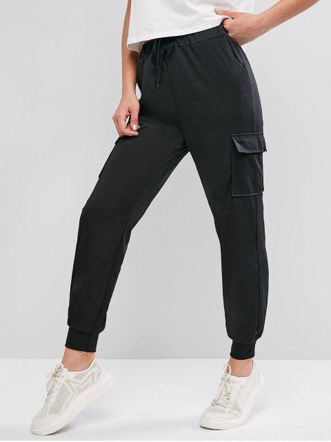 ポケットドローストリングカジュアルジョガーパンツ - ブラック M Mobile