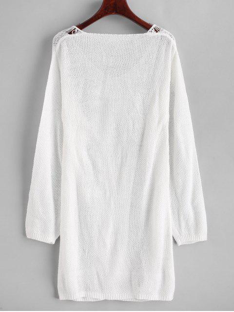 fancy V Neck Ripper Mini Sweater Dress - WHITE M Mobile