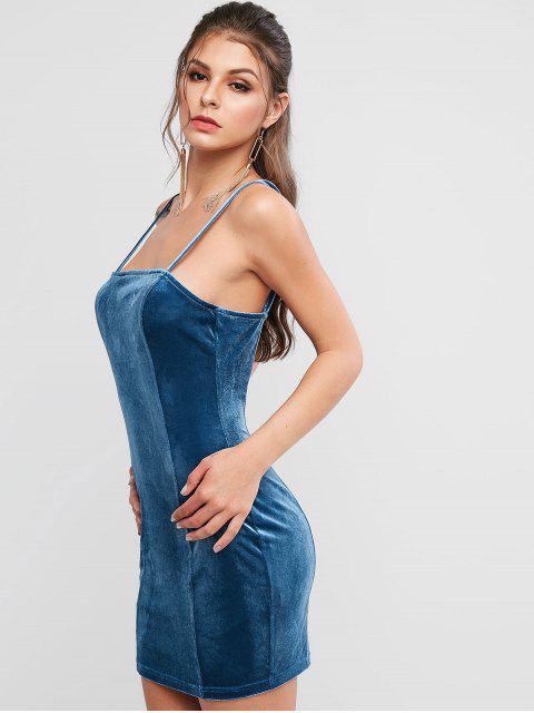 fancy ZAFUL Spaghetti Strap Velvet Mini Sheath Dress - SLATE BLUE M Mobile