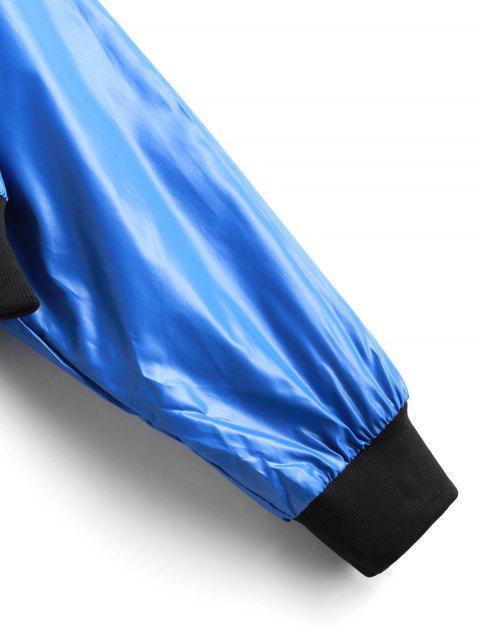 new Contrast Trim Drop Shoulder Zip Up Jacket - BLUE S Mobile