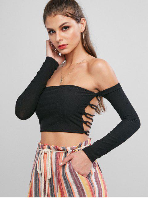 women Ribbed Off Shoulder Lace Up Back Top - BLACK M Mobile