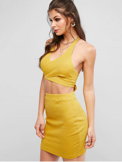 lady Cross Front Ribbed Wrap Two Piece Dress - BEE YELLOW M Mobile