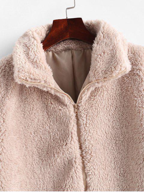 Chaleco de piel sintética sólida con cuello simulado - Beige M Mobile