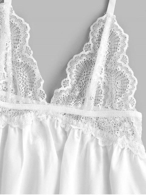 trendy See Through Lace Insert Satin Babydoll - WHITE M Mobile