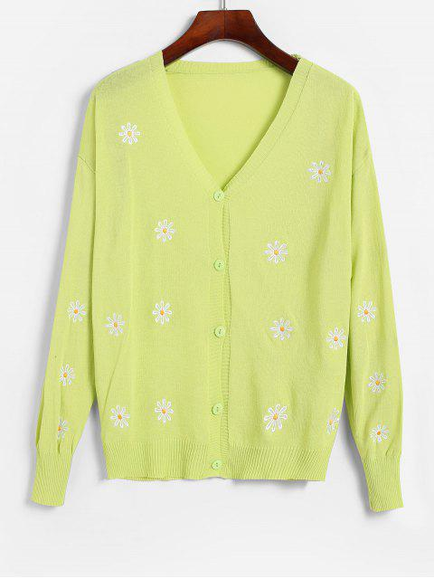 shop V Neck Button Up Floral Embroidered Cardigan - TEA GREEN ONE SIZE Mobile