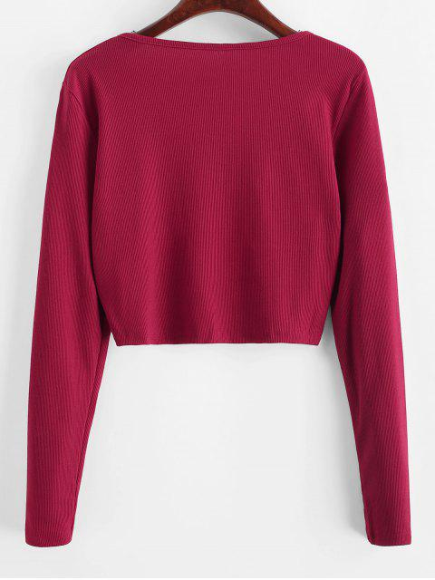 shop Ribbed Zip Long Sleeve Crop Tee - CHERRY RED S Mobile