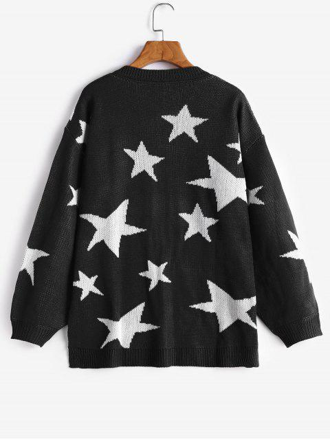 chic V Neck Star Graphic Slit Sweater - BLACK S Mobile