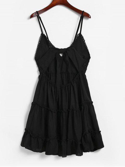 Robe Evasée Nouée au Dos Panneau au Crochet à Bretelle - Noir S Mobile