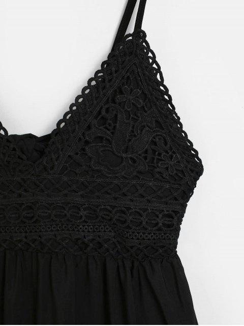 打結後背鉤針編織面料喇叭形Cami連衣裙 - 黑色 XL Mobile