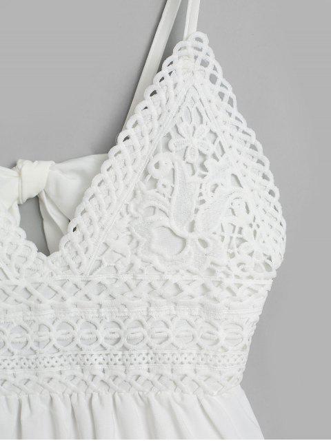 Robe Evasée Nouée au Dos Panneau au Crochet à Bretelle - Blanc XL Mobile