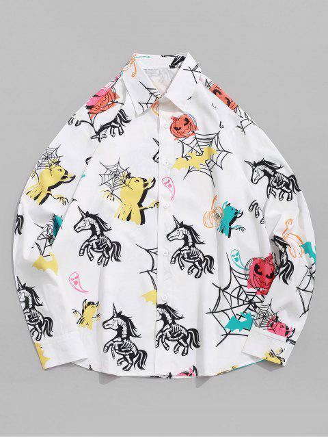 חולצת הדפס Unicorn בת דלעת שלד Halloween שרוול ארוך - רַב S Mobile