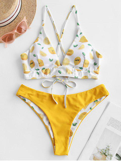 affordable ZAFUL Lemon Print Side Boning Reversible Bikini Swimsuit - MUSTARD L Mobile