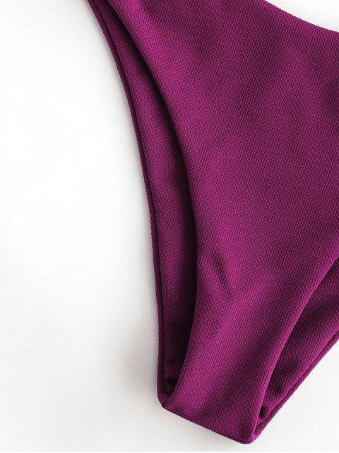 ZAFUL Maillot de Bain Bikini Noué Texturé à Armature - Marron L Mobile