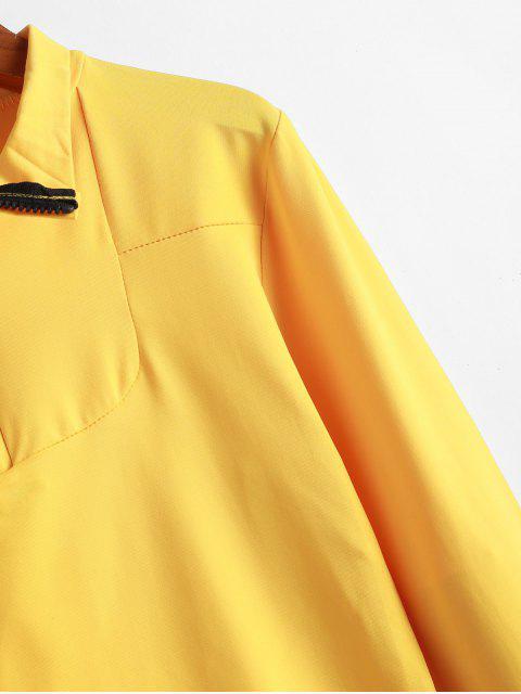 lady Half Zipper Casual Long Sleeve T-shirt - YELLOW L Mobile