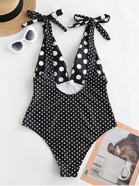 ZAFUL traje de baño de una pieza con hombros descubiertos y lunares - Negro XL Mobile