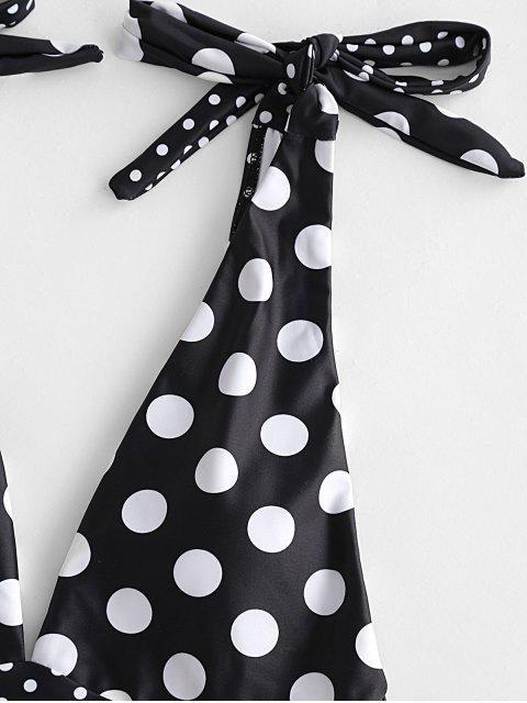 chic ZAFUL Polka Dot Tie Shoulder Plunging One-piece Swimsuit - BLACK S Mobile