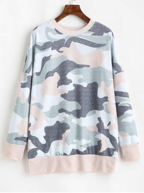 chic Camouflage Print Drop Shoulder Long Sleeve T-shirt - MULTI-A S Mobile