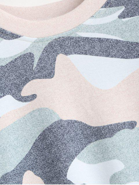 hot Camouflage Print Drop Shoulder Long Sleeve T-shirt - MULTI-A XL Mobile
