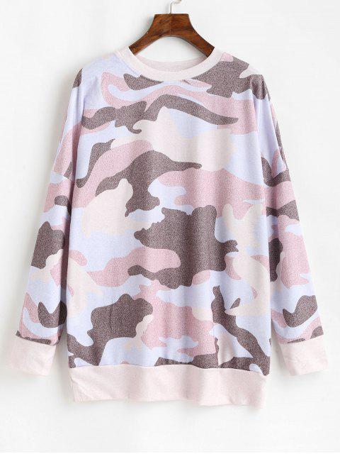 outfit Camouflage Print Drop Shoulder Long Sleeve T-shirt - MULTI-B S Mobile