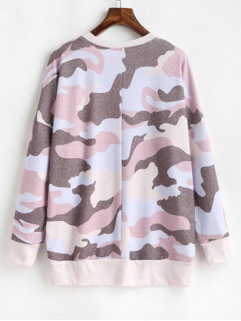T-shirt Camouflage Imprimé Goutte Epaule à Manches Longues - Multi-B L Mobile