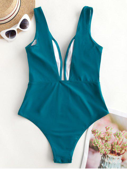 buy ZAFUL Plunge One-piece Swimsuit - PEACOCK BLUE XL Mobile