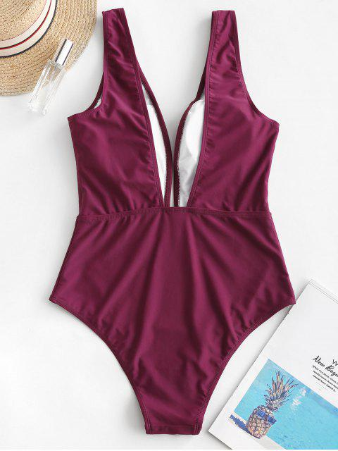 womens ZAFUL Plunge One-piece Swimsuit - MAROON L Mobile