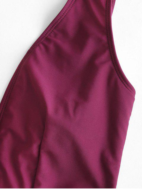 online ZAFUL Plunge One-piece Swimsuit - MAROON M Mobile