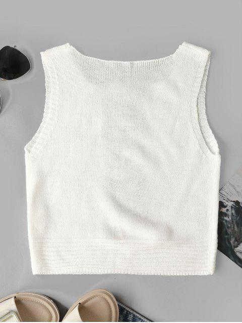 sale Ripped Crop Solid Knitted Tank Top - WHITE L Mobile