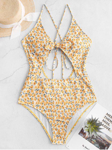 unique ZAFUL Ditsy Print Tied Criss Cross Monokini Swimsuit - GOLDENROD S Mobile