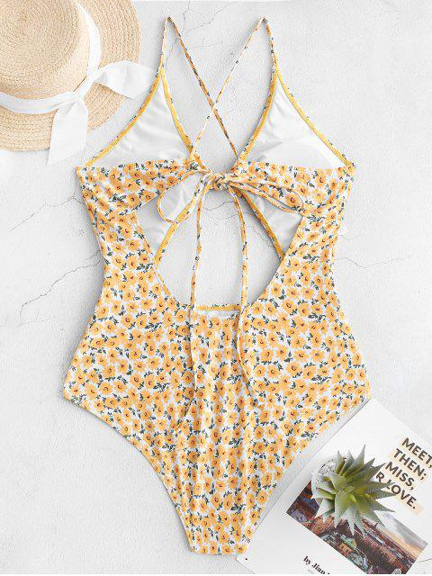 sale ZAFUL Ditsy Print Tied Criss Cross Monokini Swimsuit - GOLDENROD M Mobile