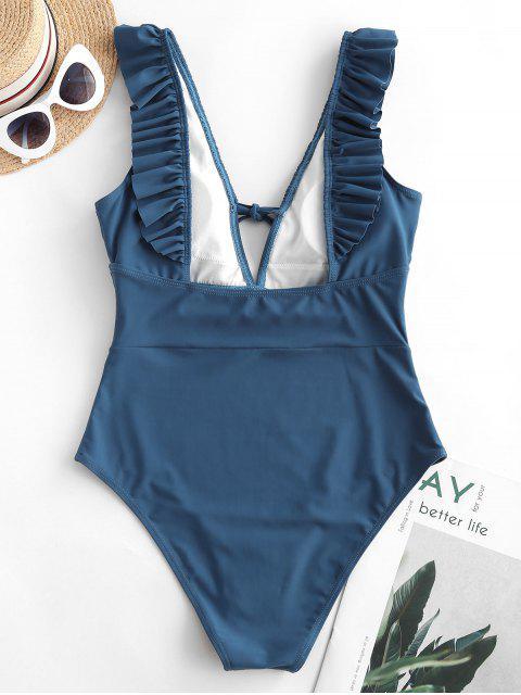 fancy ZAFUL Ruffle Tie Plunge One-piece Swimsuit - SLATE BLUE L Mobile