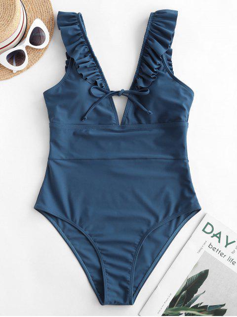 women ZAFUL Ruffle Tie Plunge One-piece Swimsuit - SLATE BLUE M Mobile