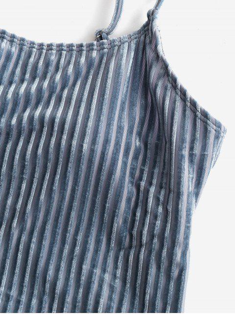 hot ZAFUL Tonel Striped Velvet One-piece Swimsuit - BLUE GRAY L Mobile