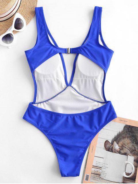 chic ZAFUL Plunge Monokini Swimsuit - COBALT BLUE S Mobile