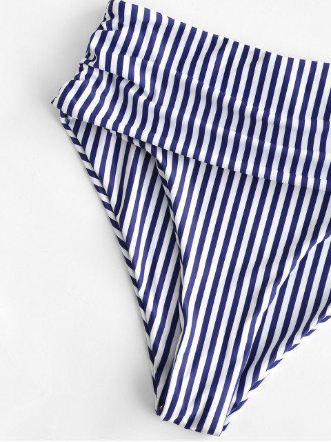 ZAFUL Bas de Bikini à Rayure Verticale à Taille Haute à Volants - Bleu Foncé Toile de Jean XL Mobile