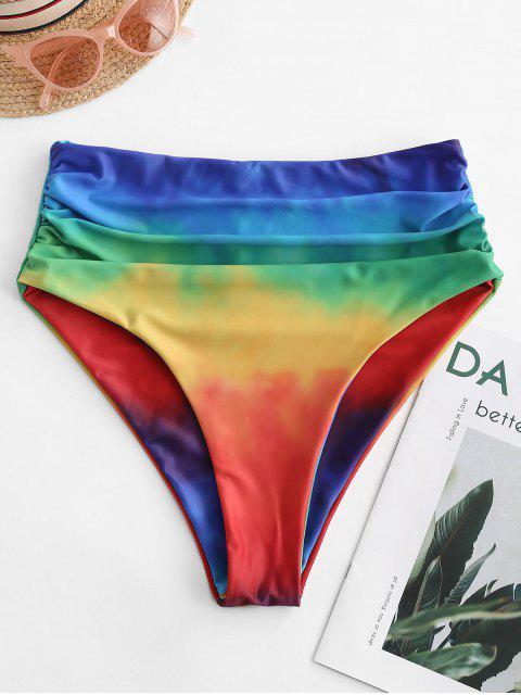 ZAFUL Радужный принт Tie Dye С оборкой Высокая талия Трусы Бикини - Многоцветный-A XL Mobile