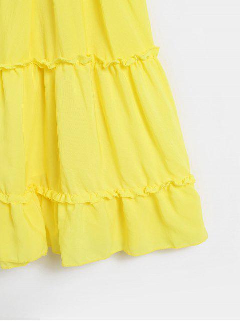 打結後背鉤針編織面料喇叭形Cami連衣裙 - 黃色 XL Mobile